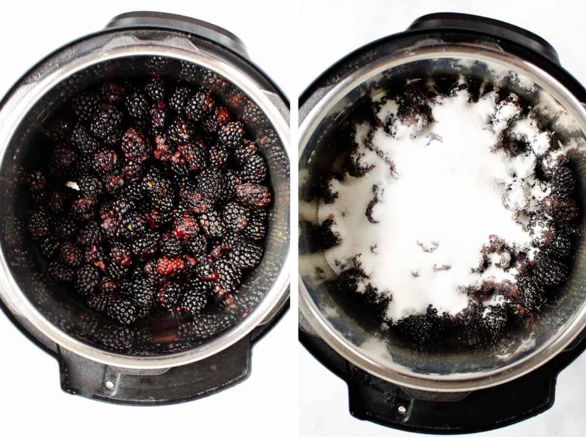 Two overhead photos of blackberries in an instant pot for making jam.