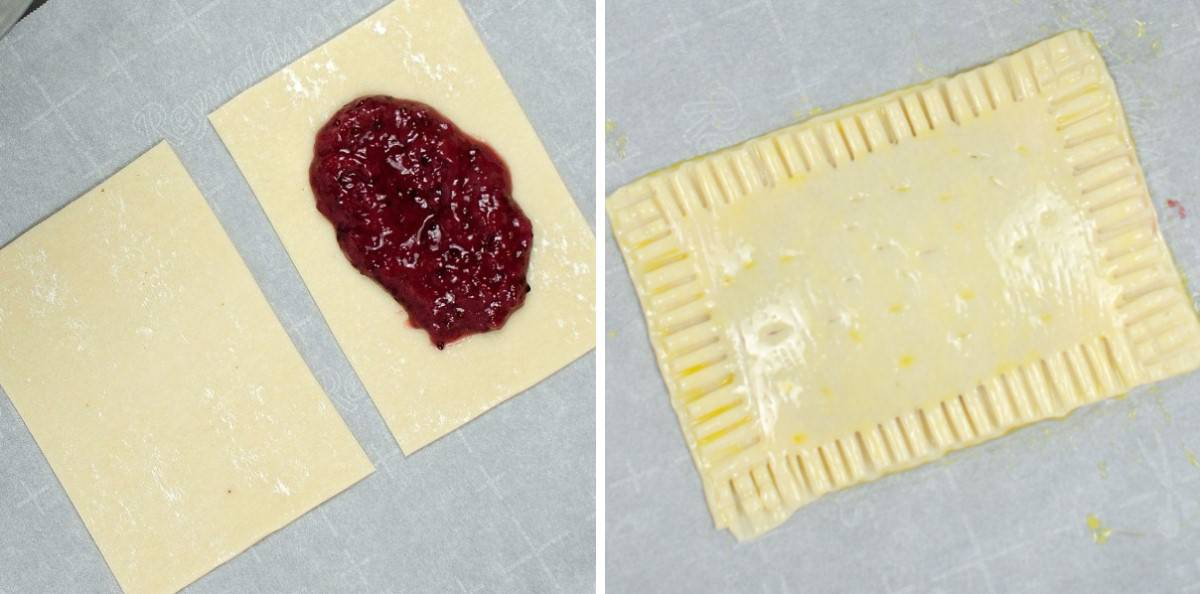 Open dough rectangles with jam and them sealed together for baking.
