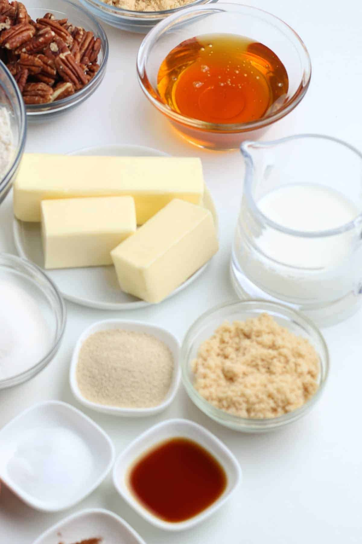 Ingredients to make vegan sticky buns.