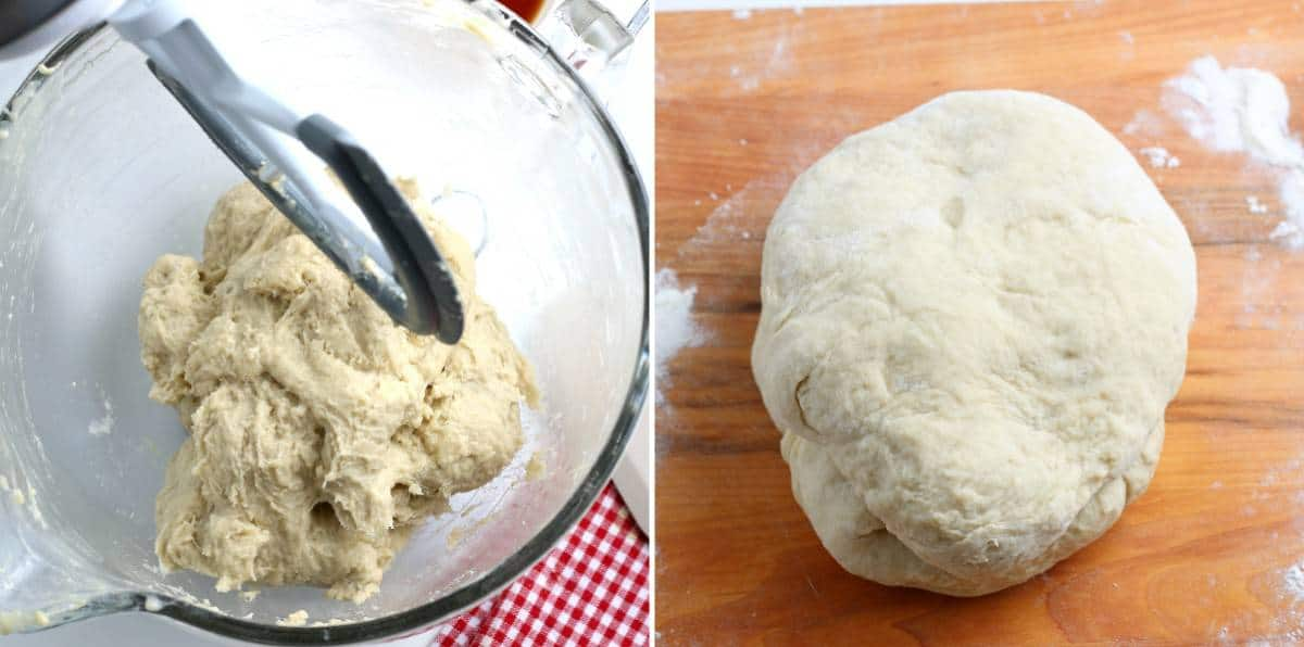 Mixing bowl with finished dough and a ball of dough on a wooden board.