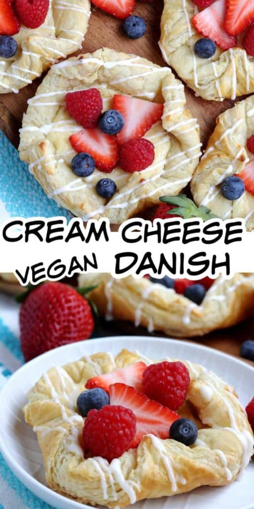 Centered Vegan Cream Cheese Danish drizzled with icing & more behind.