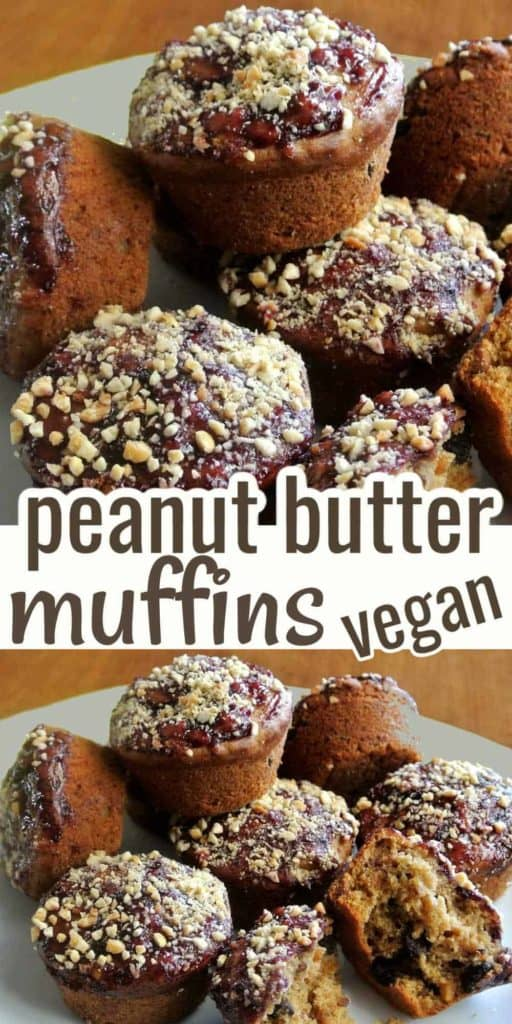 Two photos and close up pile of Iced peanut butter muffins with peanuts on top.