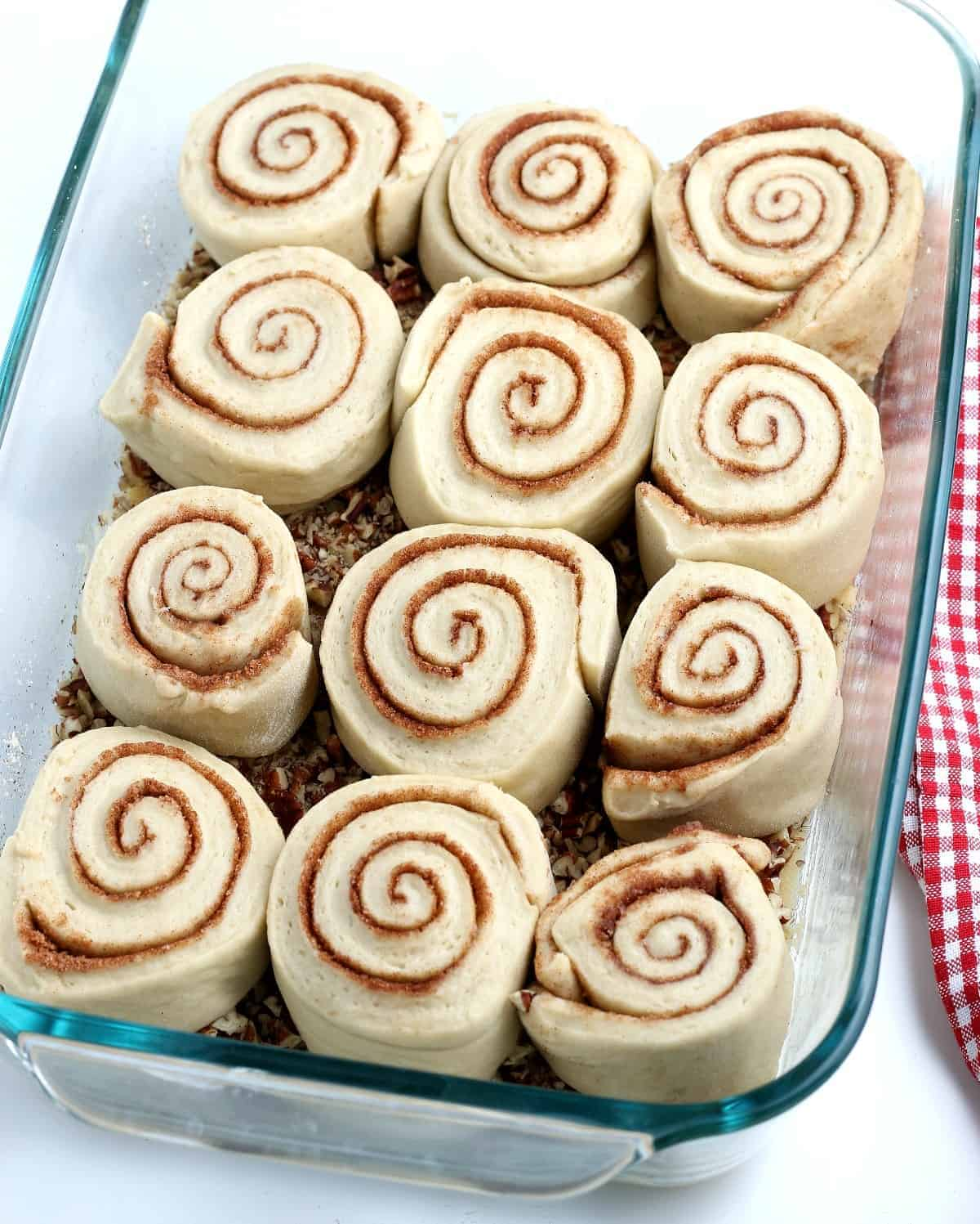 Perfect rolled cinnamon rolls are in a casserole waiting to be baked.