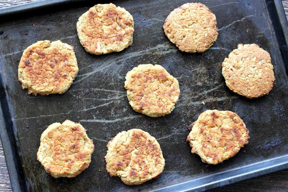 Falafel patties baked golden and fresh out of the oven.