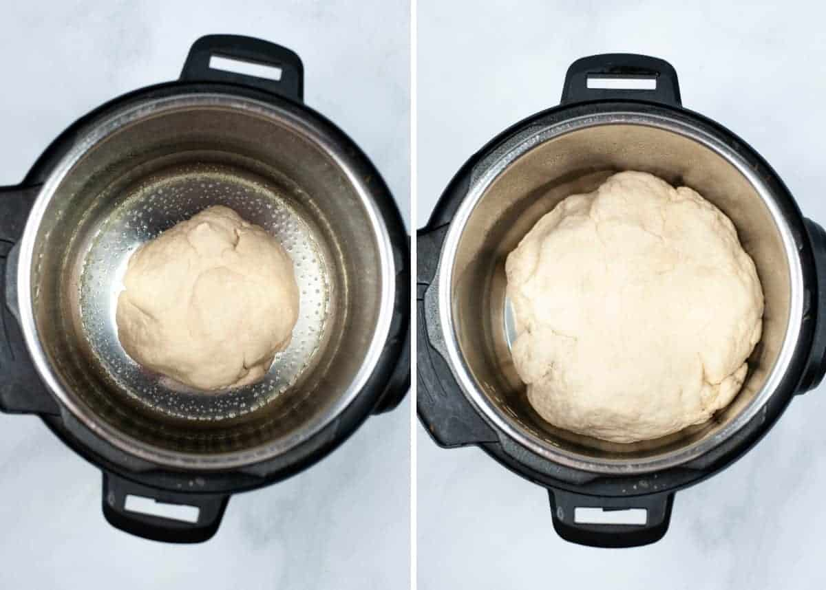 Instant pot with fresh dough and also after it has risen.