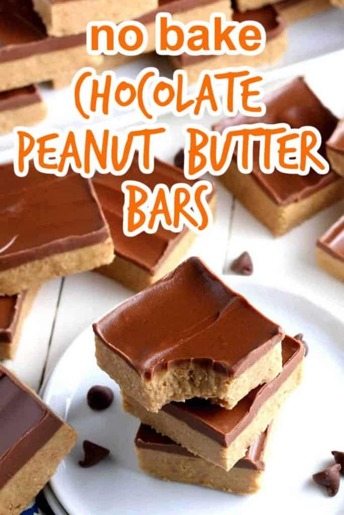 Stack of three chocolate topped peanut butter bars with more scattered.