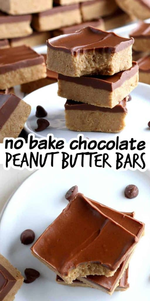 Stacks of chocolate peanut butter bars by the side and overhead.