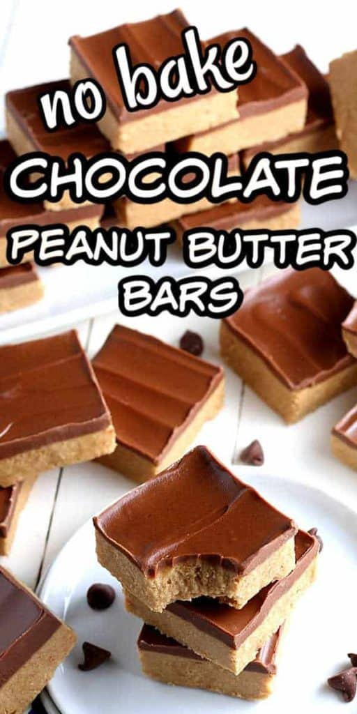Stack of three chocolate topped peanut butter bars with more squares around.