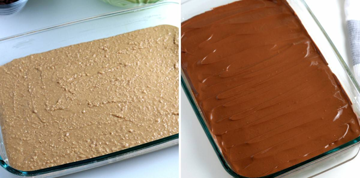 Two casseroles with the bottom layer in one and the other having bpth layers.