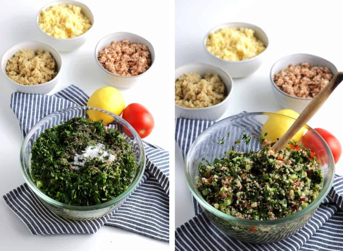 Two photos showing the herbs and then tossing with other ingredients.