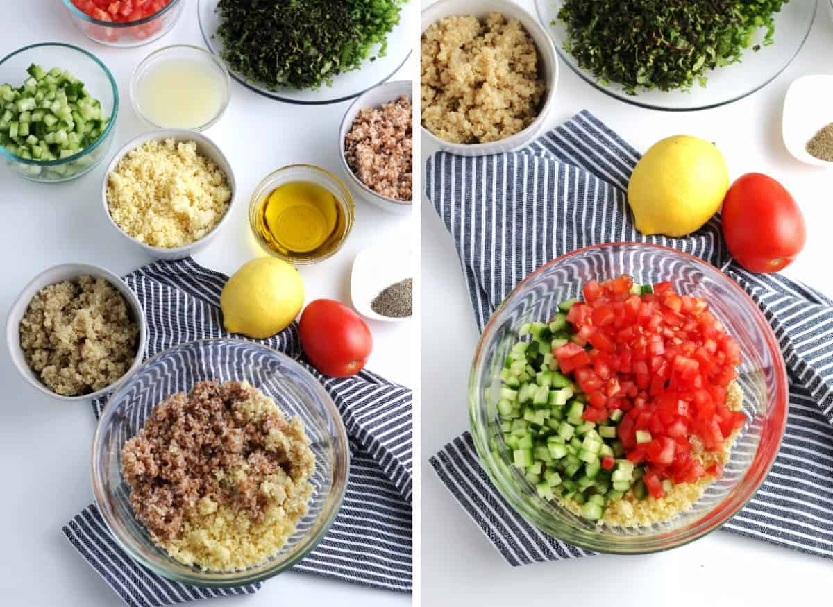 Two photos showing grains and added chopped veggies.