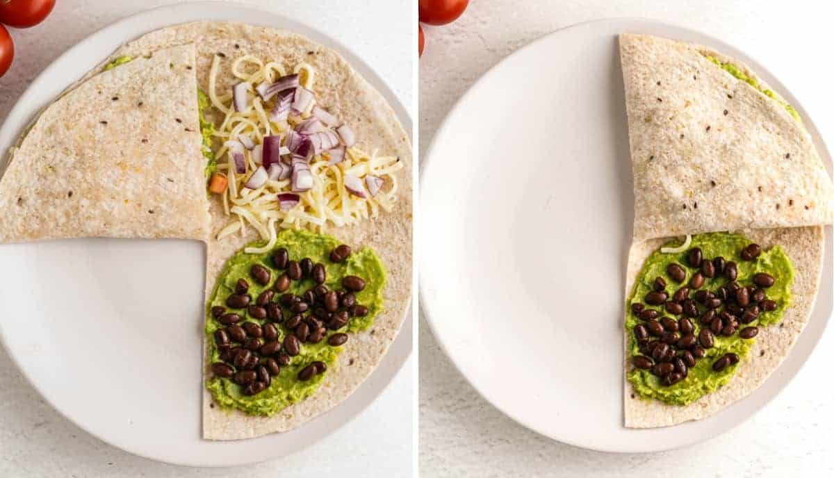 Two photos showing the first two folds for this veggies quesadilla recipe.