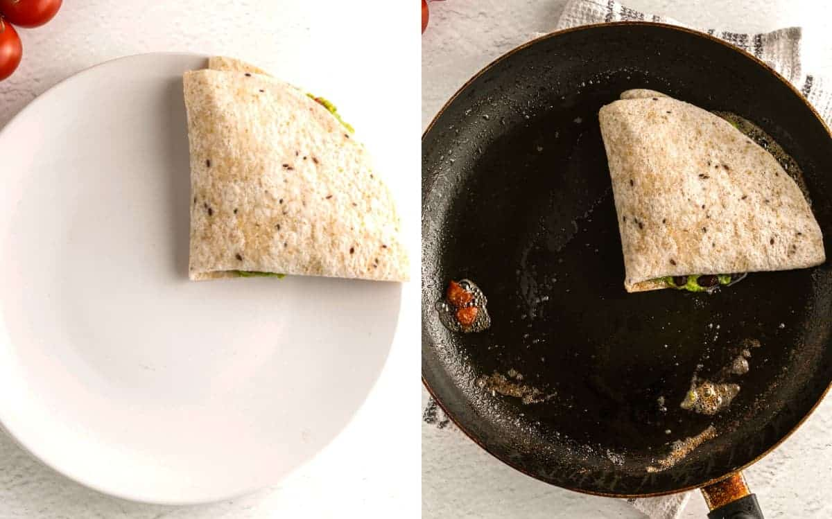 Two photos showing the final folded tortilla and then frying in a pan.