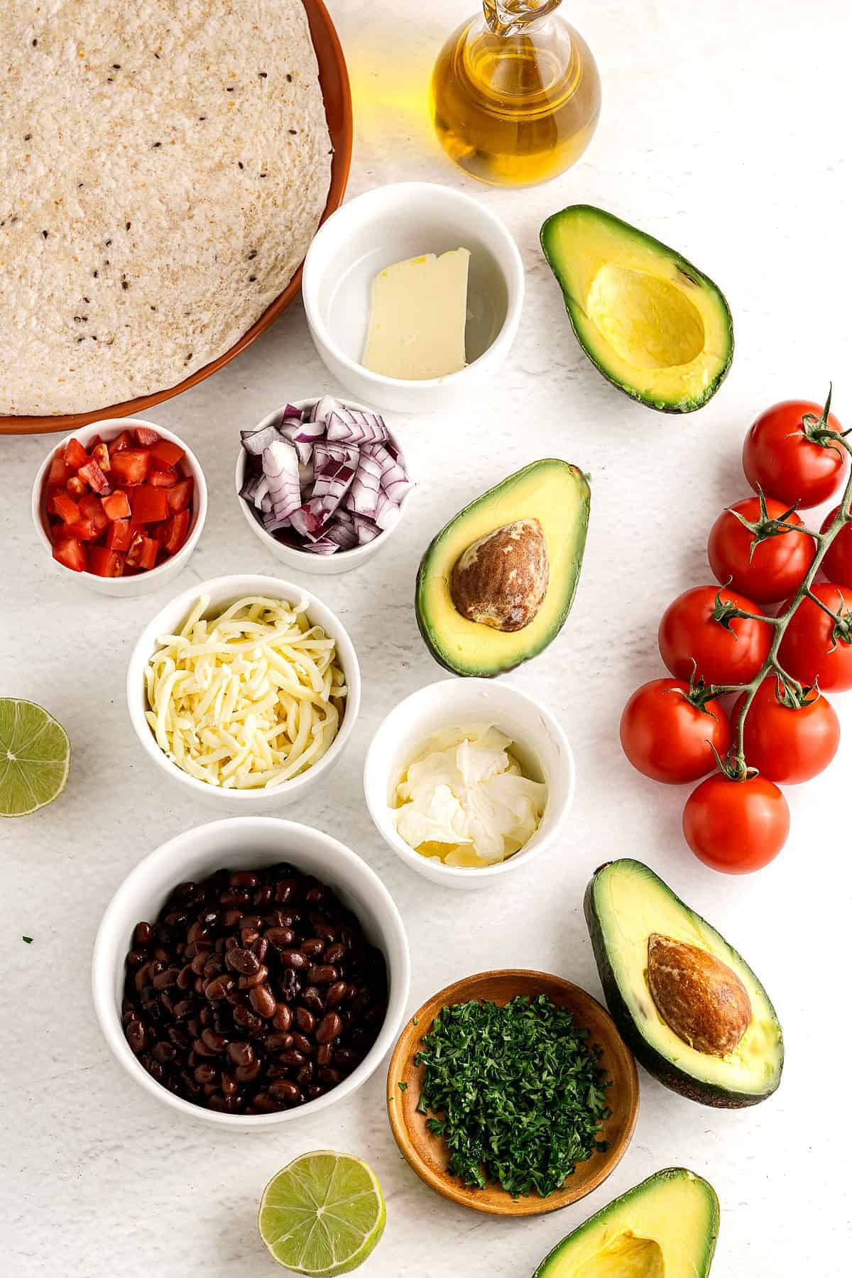 All of the ingredients for quesadillas vegan style.