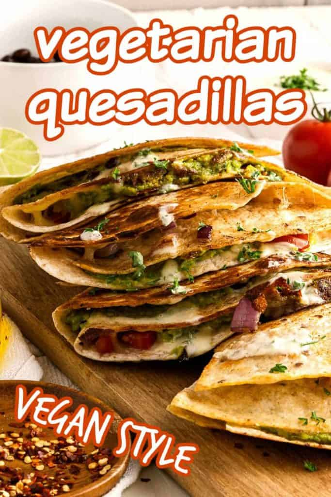 Four quesadillas overlaying each other and showing the inside veggies.