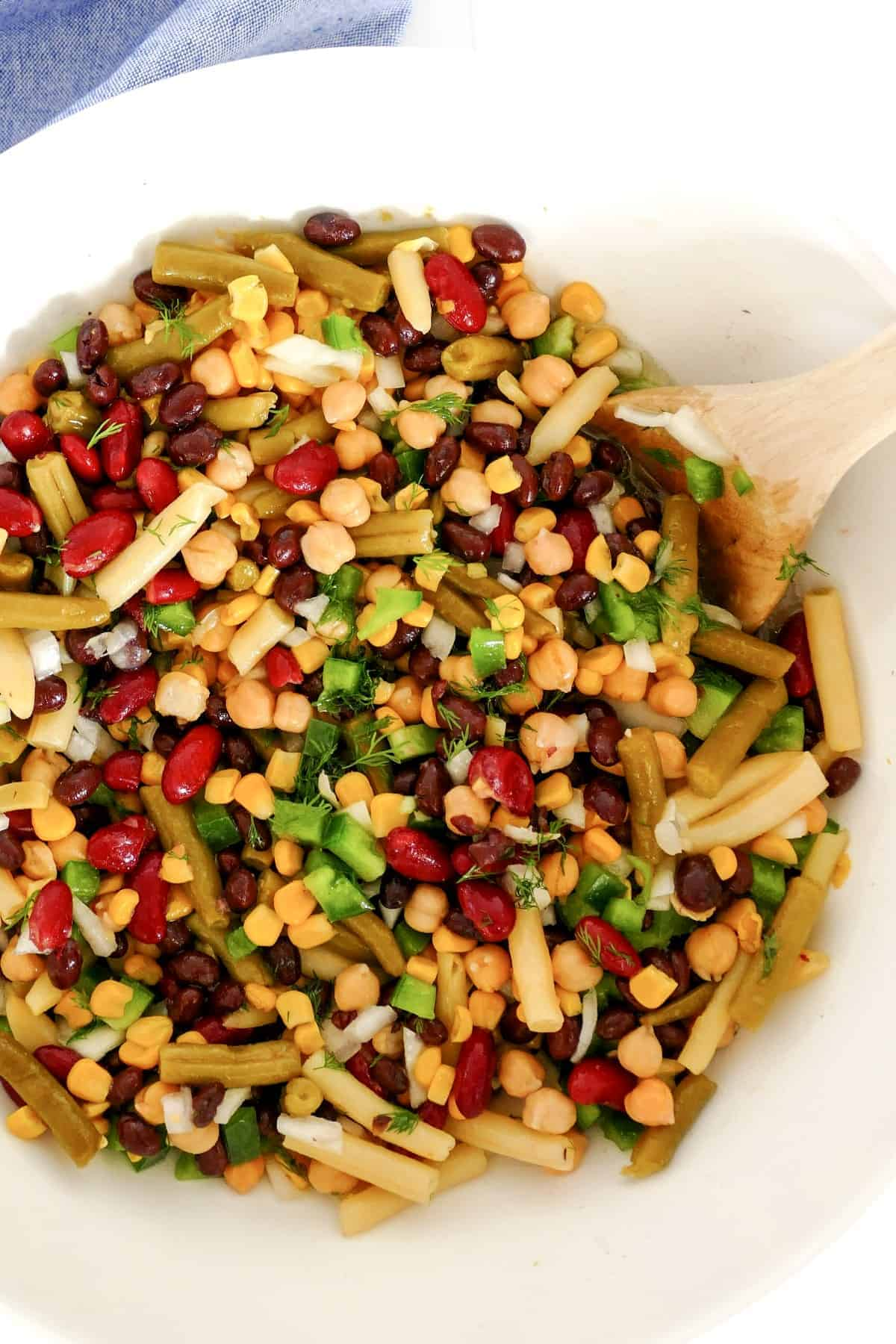 Overhead of a bowl full of mixed bean salad.