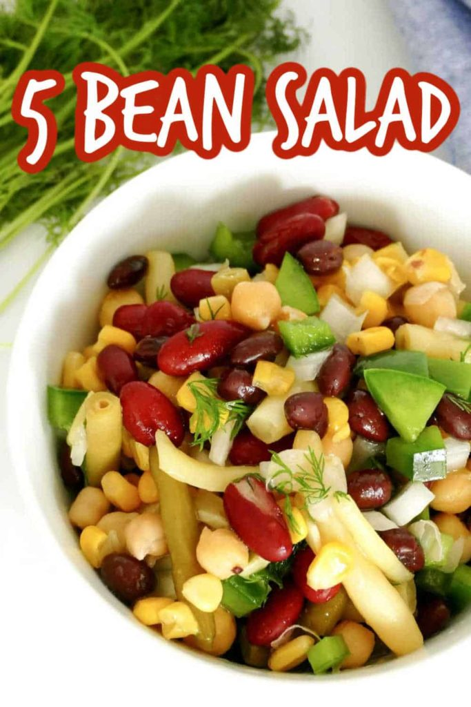 Close up picture of mixed bean salad including green beans.
