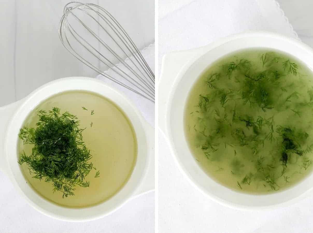 Two photos showing combining and mixing dressing.