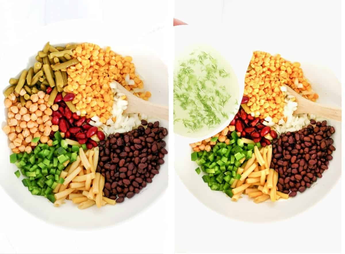 Two photos showing ingredients in bowl and adding the dressing.