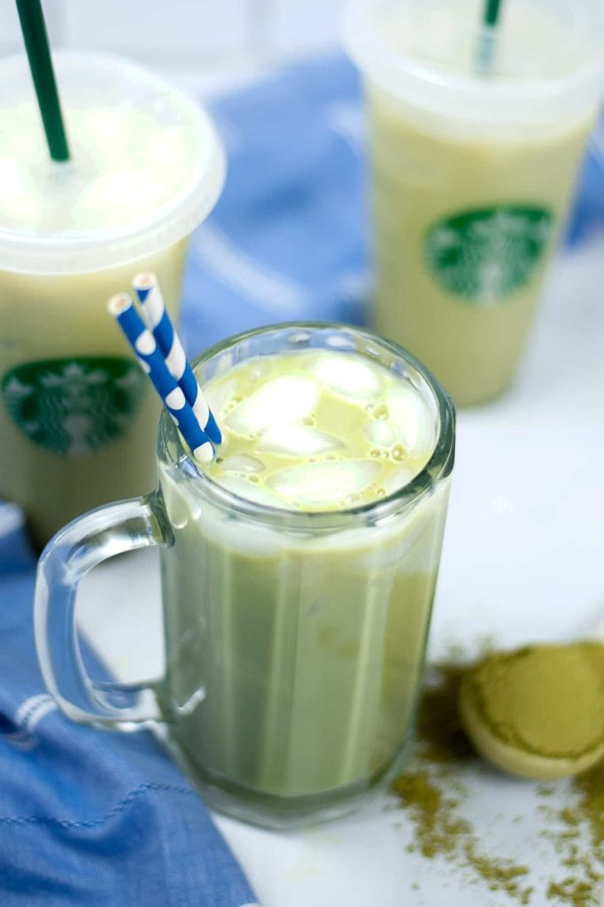 Multiple glasses filled with Iced Matcha Latte.