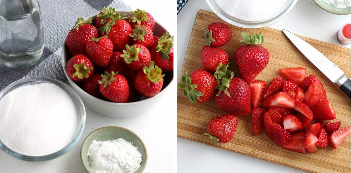 Ingredients for strawberry sauce and chopping the strawberries.