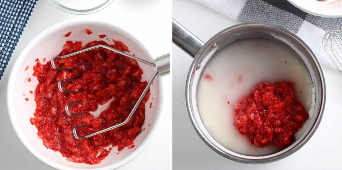 Two photos with preoared fruit and ingredients just added to saucepan.