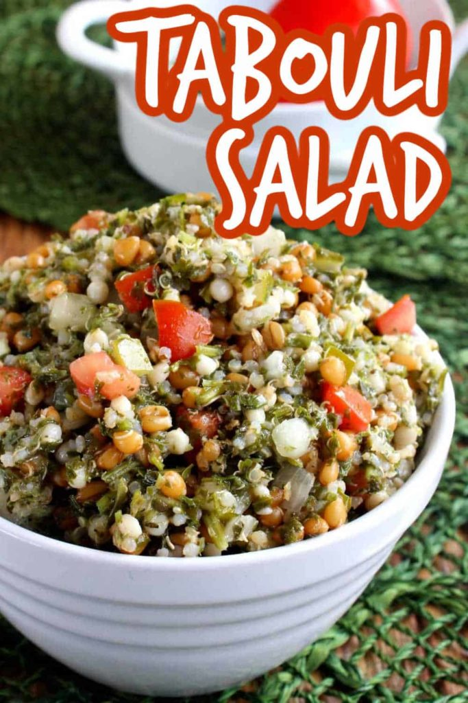 White bowl filled high with fresh tabouli salad.