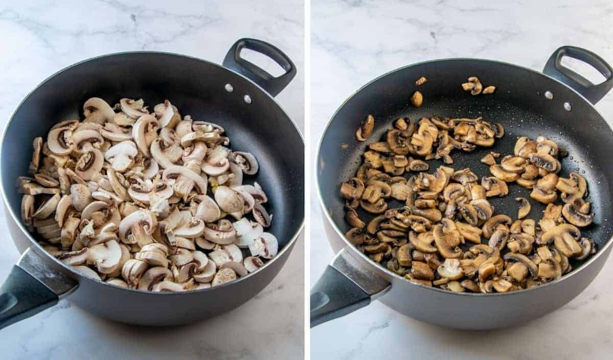 Two pricess photos showing sauteeing mushrooms.
