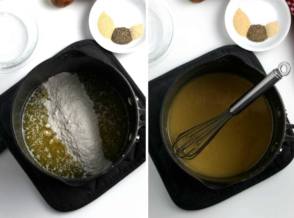 Two process photos making a base for dairy free cream of mushroom soup.