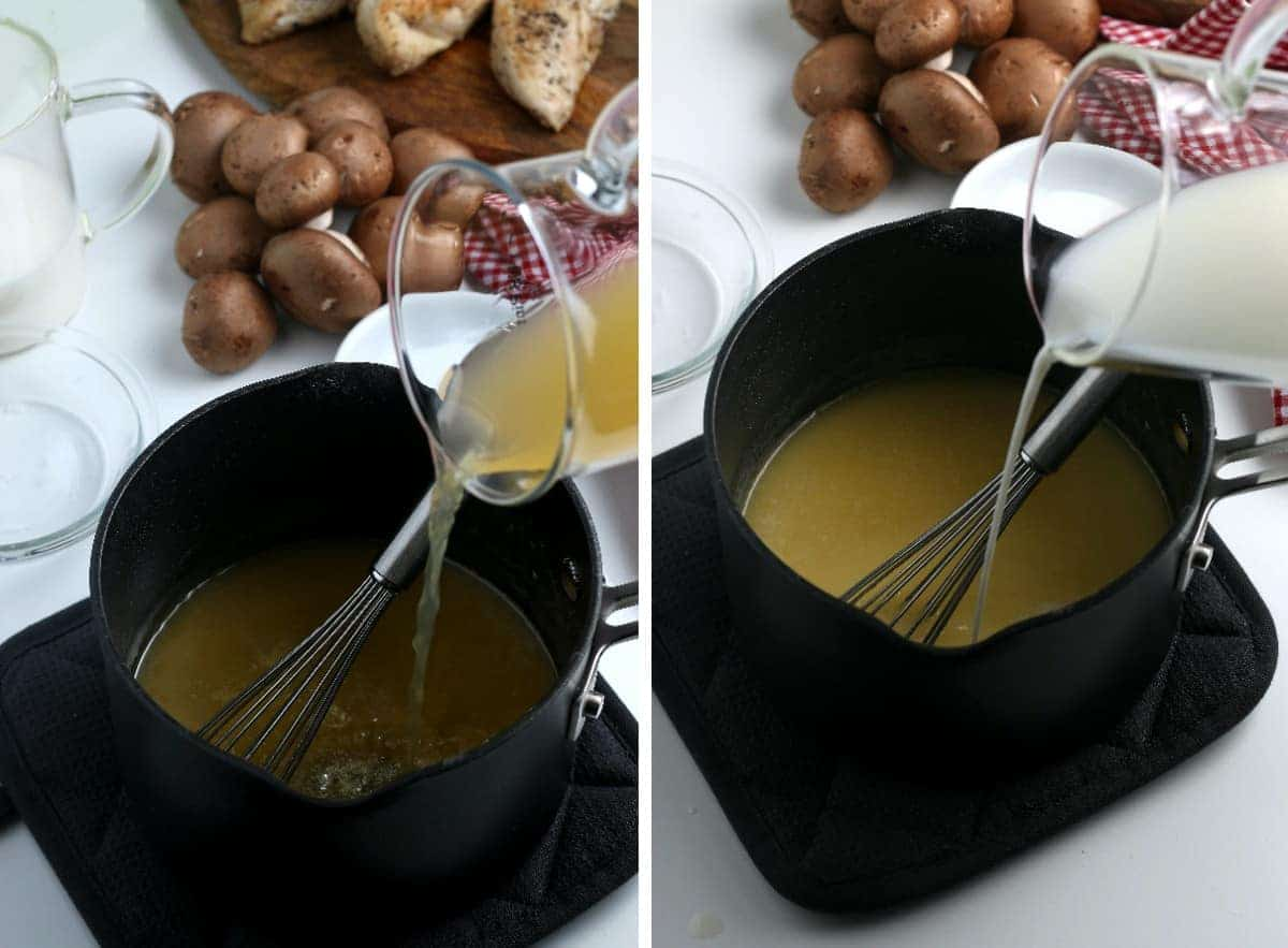 Two photos with the liquids being added to the creamy soup base.