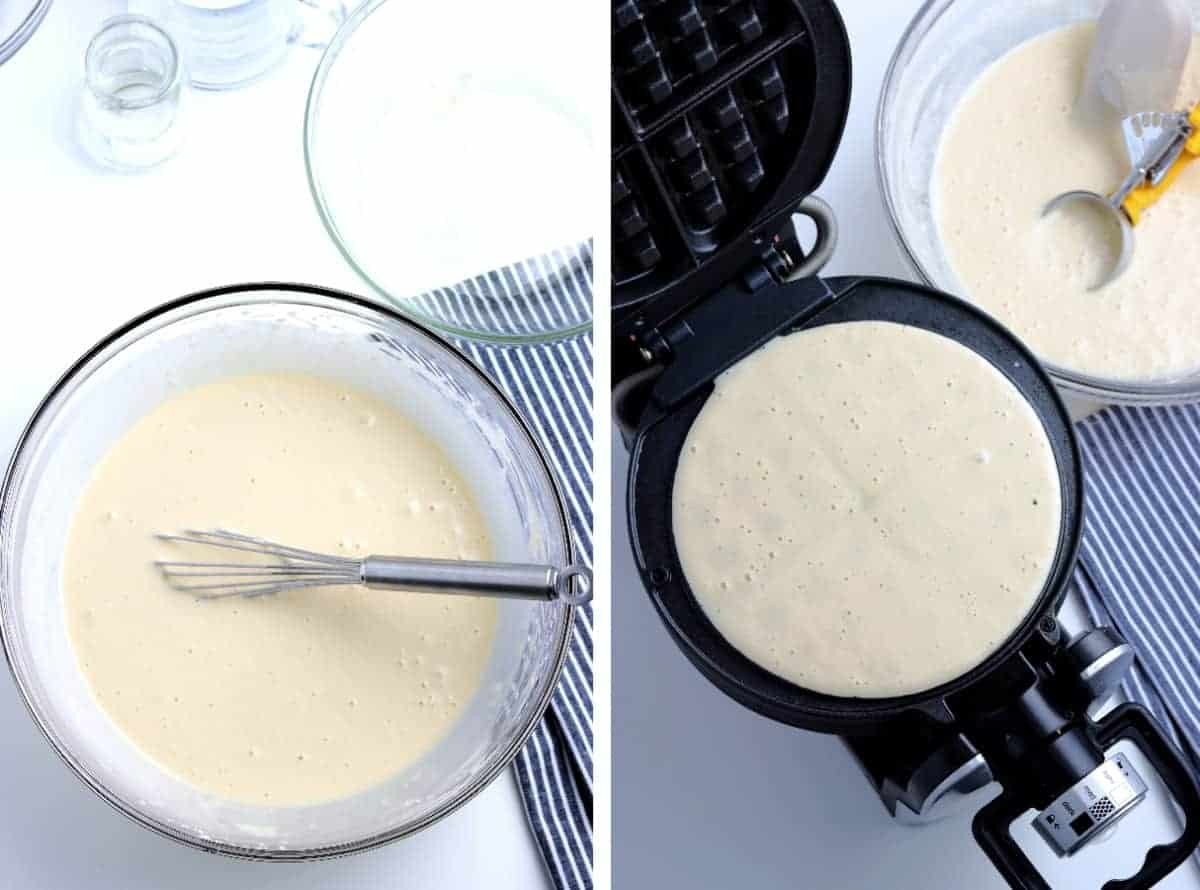 Batter in a bowl and cooking in a waffle iron.