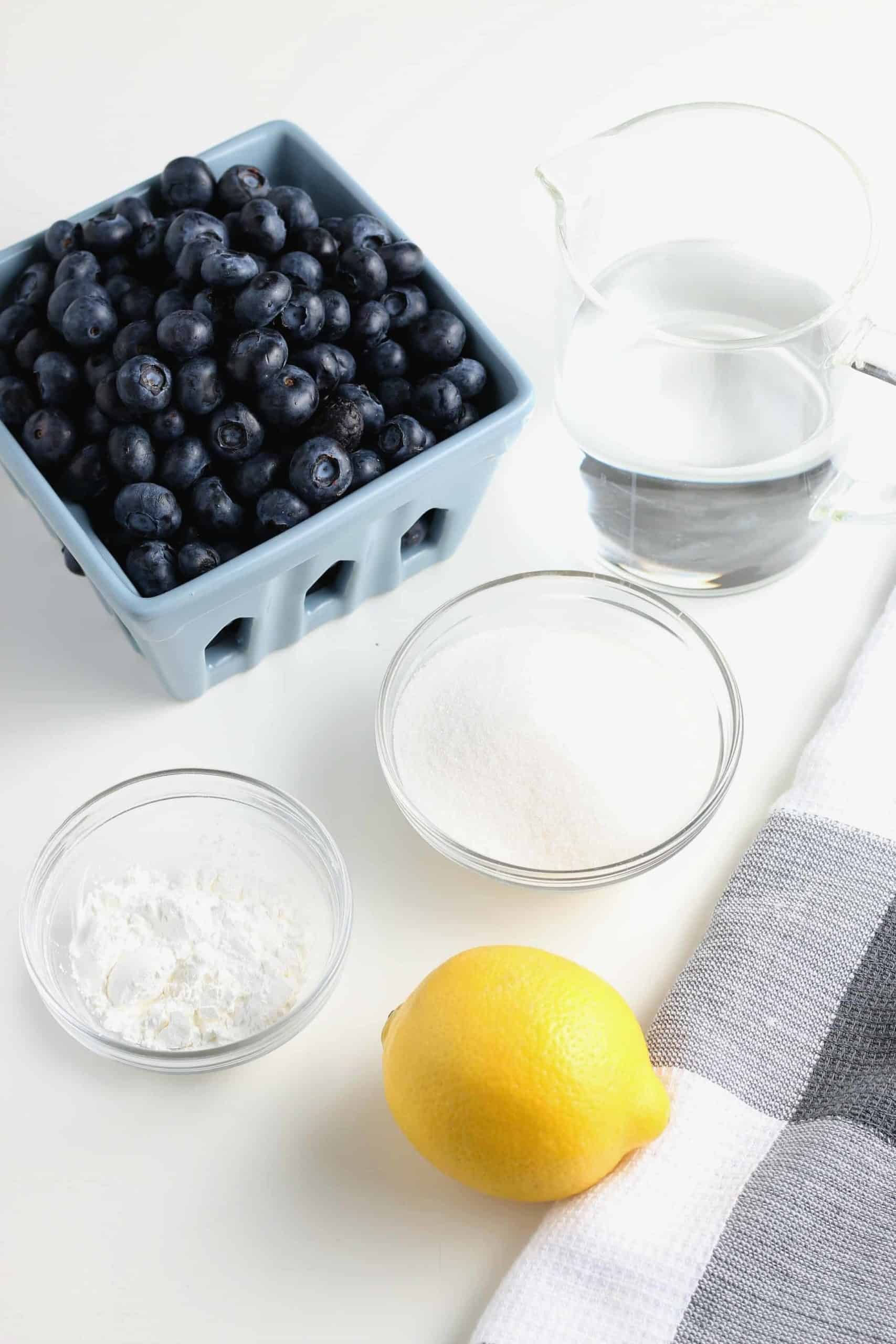 All of the 5 ingredients for a fruit topping.