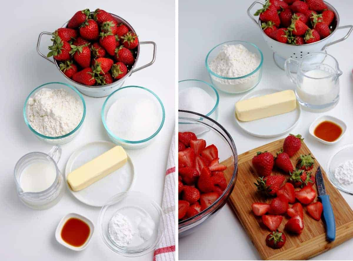 All of the ingredients are measured out and the strawberries are being sliced.
