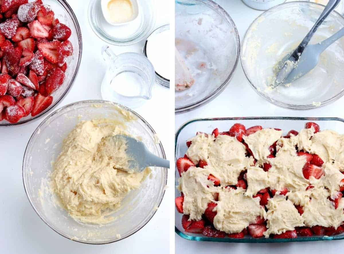 Bowl of mixed topping and the casserole with berries and topping dolloped.