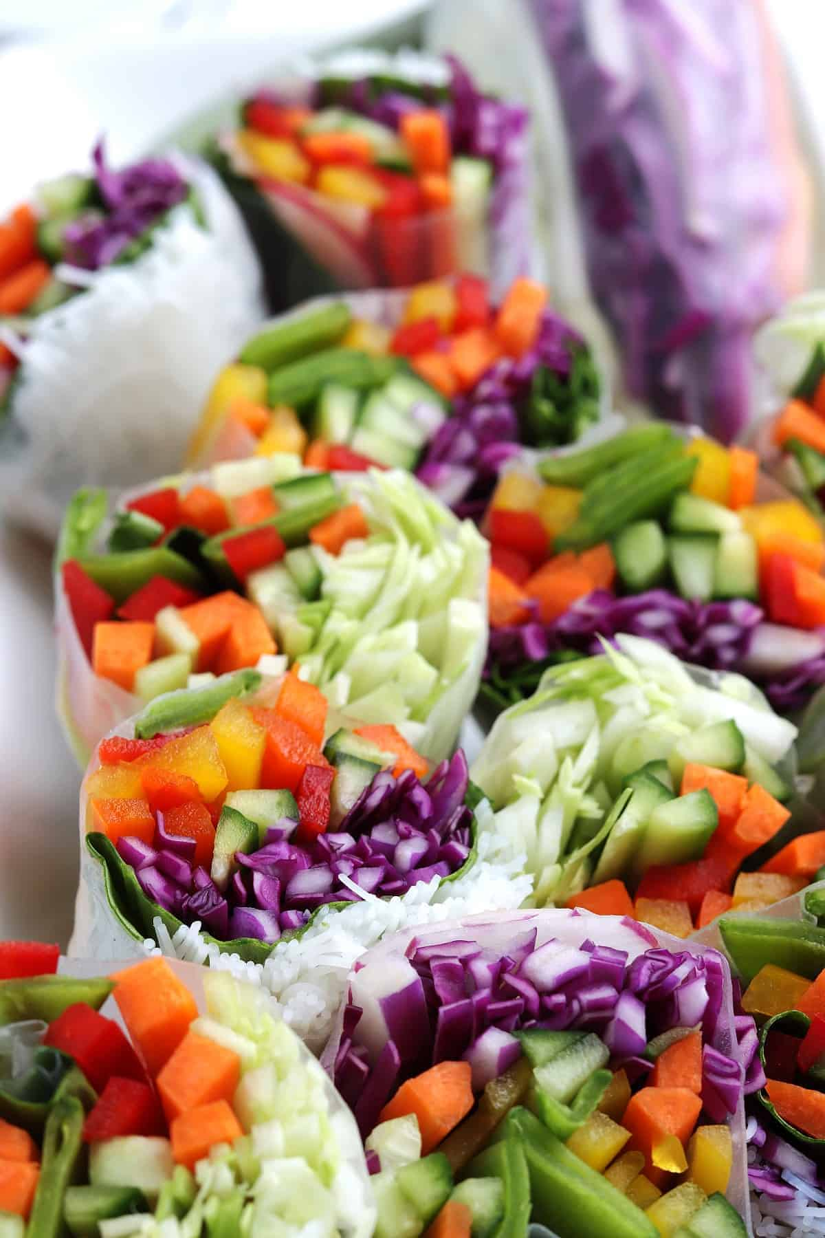 Beautiful and colorful close-up of dinner with lots of veggies.