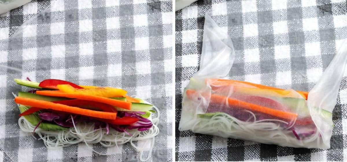 Sliced veggies being layed out on rice paper and then rollup up.